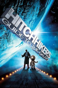 "Poster for the movie ""The Hitchhiker's Guide to the Galaxy"""